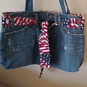 Handmade patriotic 4th of July denim shoulder bag